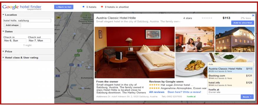 Google Hotel Finder – a hotel showing their own pricing inline with the OTA's by using seekda's advanced technology