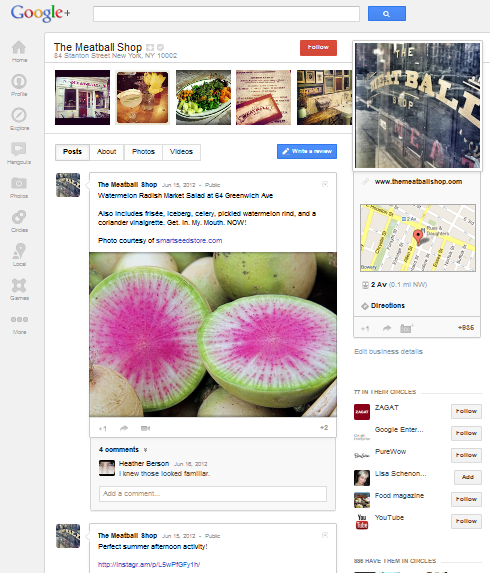 Google+ Local - Meatball Shop
